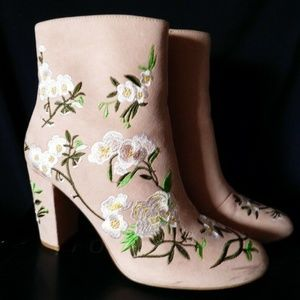 Forever 21 Blush Faux Suede Cherry Floral Boots